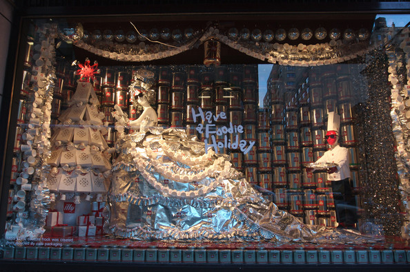 The Christmas window display in Barneys on New York's Madison Avenue has a celebrity chef theme this year. Pictured: the Illy Caffe display.