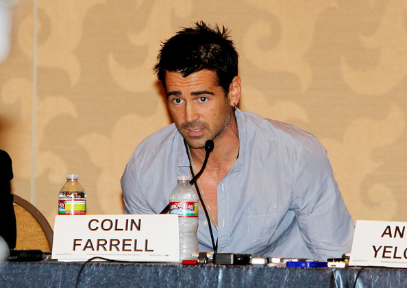 "Colin Farrell at the panel discussion for the remake of the film ""Fright Night"" at the San Diego Comic-Con. The film is a remake of the 1985 original about a teenage boy who realizes that the his next door neighbor is a murderous vampire."