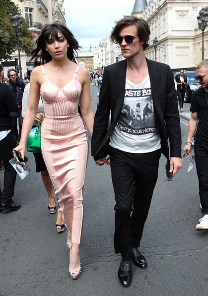 Daisy Lowe steps out in a fabulous pink Gaultier corset dress with boyfriend Matt Smith at the Jean-Paul Gaultier fashion show, held at his showroom in Rue Saint-Martin, Paris. After the show, the models walked along a red carpet in the street in his extravagant couture creations. The designer later held a party to celebrate his new men's fragrance.