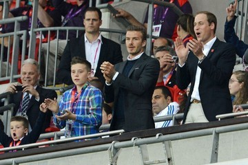 David Beckham Prince William Prince William and David Beckham seen enjoying a boys night out together while watching the exciting game between Team Great Britain vs United Arab Emirates at the Wembley Stadium in London