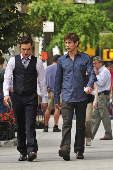 Ed Westwick Chace Crawford and Ed Westwick prepare to shoot a scene for