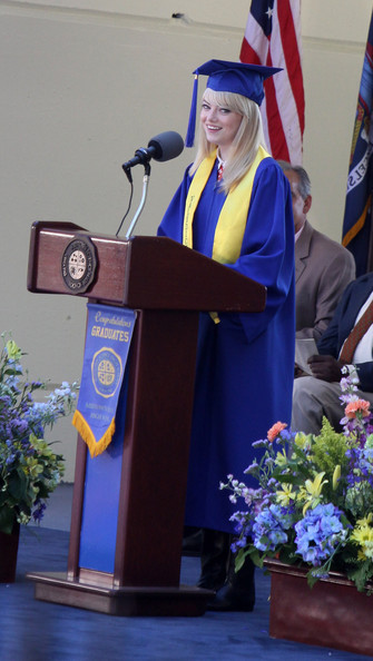 Emma Stone in The Amazing Spider-Man movie giving valedictorian speach