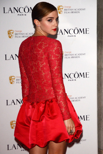 "Emma Watson - ""Harry Potter"" actress Emma Watson looks stunning in red as she arrives at the pre BAFTA party at the Savoy Hotel in London"