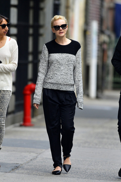 English actress Carey Mulligan seen out walking in Soho.