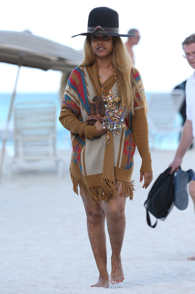Erykah badu hits the beach zimbio for Erykah badu real tattoos