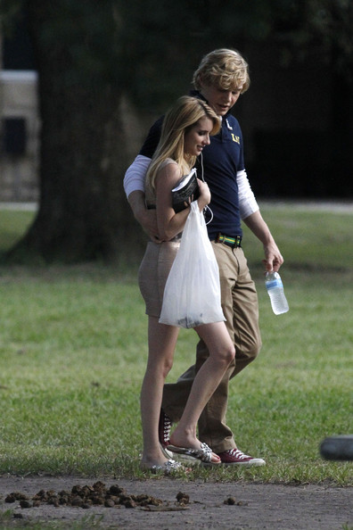 Evan Peters - Emma Roberts and Evan Peters Film 'American Horror Story'