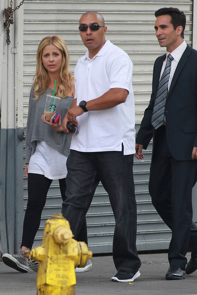 "Sarah Michelle Gellar, former Buffy Star, is back on the scene with a new show, ""Ringer"" on the CW. She was spotted on her first day on set in Los Angeles walking with co-star Nestor Carbonell. The show will mark Gellar's return to television and will premeire September 13."