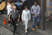 Clark Duke, Craig Robinson and Rob Corddry begin filming 'Hot Tub Time Machine 2' in the French Quarter of New Orleans. During breaks, Clark was seen using a portable electric fan and Craig had personal assistance holding fans for him on the 90 degree day.