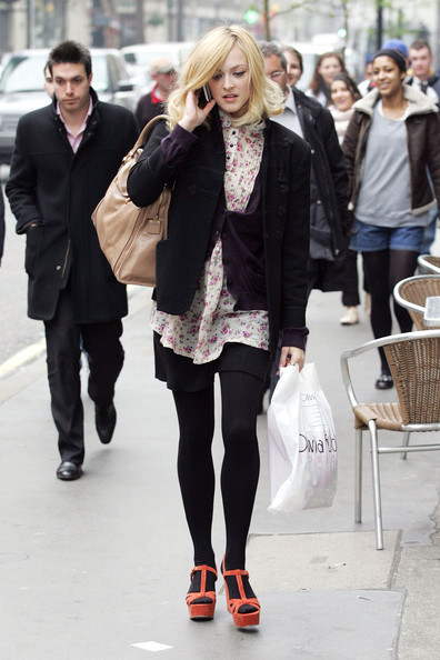 Fearne Cotton leaving Radio One with a new shorter hairdo and carrying an Olivia Rubin shopping bag. The Radio DJ was in the studios helping Chris Moyles and Comedy Dave broadcast 'Radio 1's Longest Show Ever...' for Comic Relief.