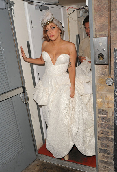 Flamboyant pop star lady gaga seen wearing a stunning for White after wedding party dress