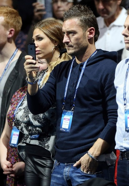 francesco totti and his wife ilary blasi seen watching novak djokovic take on roger federer at