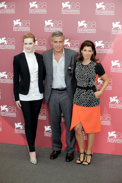 "Evan Rachel Wood, George Clooney and Marisa Tomei at the photocall for ""The Ides of March"", held as part of the Venice Film Festival 2011."