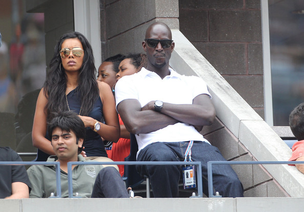 Kevin Garnett of the Boston Celtics and his wife Brandi watch the US Open at the Billie Jean King Tennis Center in Flushing Meadows.