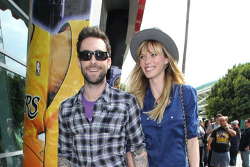 Adam Levine Anne V Celebs at the Lakers vs Denver Nuggets Game