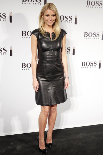 Actress Gwyneth Paltrow stuns in a black leather dress, as she attends the Hugo Boss photocall at Neptuno Palace in Madrid