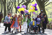 """(L-R) Ashley Fink, Harry Shum Jr., Mark Salling, Dianna Agron, Lea Michele, Chord Overstreet, Heather Morris, Jenna Ushkowitz, Kevin McHale, Amber Riley, Cory Monteith and Chris Colfer film a singing and dancing scene for their hit TV show """"Glee"""" in NYC's Central Park."""