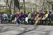 """(L-R) Ashley Fink, Kevin McHale, Jenna Ushkowitz, Chris Colfer, Dianna Agron, Chord Overstreet, Amber Riley, Harry Shum Jr., Heather Morris, Mark Salling, Lea Michele, Cory Monteith and Naya Rivera filming their show """"Glee"""" in Central Park. With the help of a NYPD horse riding officer, the cast made their way through Central Park with large, brightly colored balloons."""