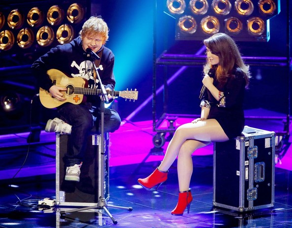 English pop sensation Ed Sheeran seen performing live on 'The Voice' in Holland