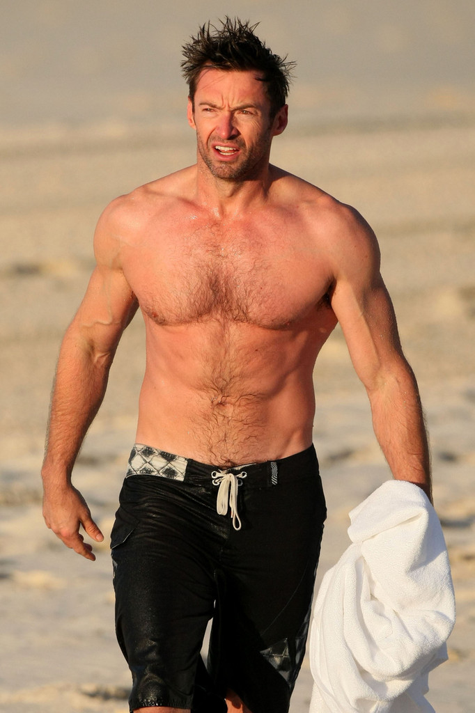 Hugh Jackman without a shirt.