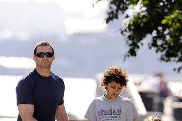 Hugh Jackman Oscar Jackman Hugh Jackman spends Father's Day with his daughter Ava and son Oscar as they walk their dog Peaches in New York City
