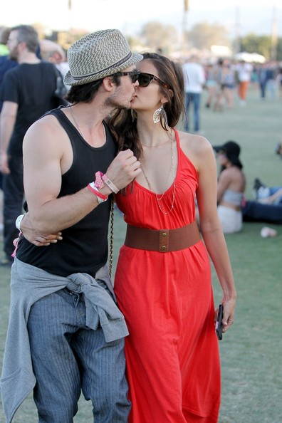 Ian Somerhalder and Nina Dobrev - Ian Somerhalder and Nina Dobrev Kiss at Coachella