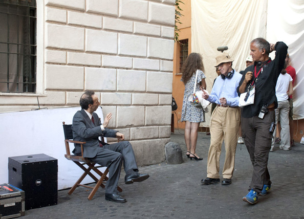 "Italian funny man Roberto Benigni is seen on set of the new Woody Allen movie ""Bop Decameron"" in Italy.  Benigni, 58, creates laughs on set with his humor."