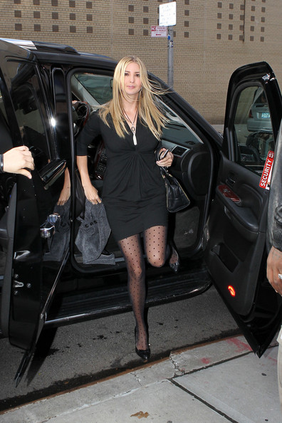 Ivanka Trump Ivanka Trump wears a short black dress with dot tights ...