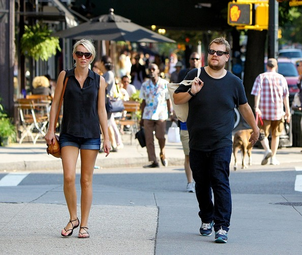 English Comedian James Corden And His Fiance Julia Carey Are Spotted Out For A Stroll In