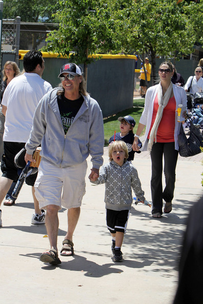Jayden Federline attends his brother Sean Preston's little league baseball game with dad Kevin Ferderline and Victoria Prince.