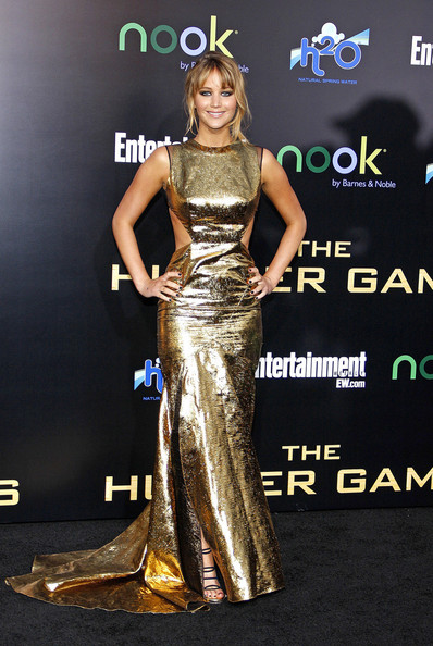 "Jennifer Lawrence at the Los Angeles premiere of ""The Hunger Games"" held at the Nokia Theatre L.A. Live, Los Angeles."