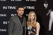 "Justin Timberlake and Amanda Seyfried attend a photocall for the movie ""In Time"" at the Villamanga Hotel in Madrid, Spain. The event was held ahead of the Spanish premiere of the sci-fi film."