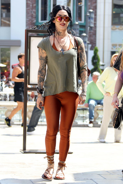 "Kat Von D ""LA Ink"" star Kat Von D is seen at The Grove after having lunch with a friend at The Cheesecake Factory. Kat is engaged to Sandra Bullock's ex husband Jesse James."