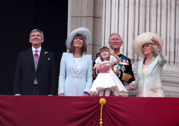 Kate Middleton L-R Michael Middleton, Carole Middleton, Prince Charles, Duchess of Cornwall and Eliza Lopes wave to awaiting crowds from the balcony at Buckingham Palace after the earlier marriage of Prince William to Catherine Middleton at Westminster Abbey which was watched by 2 billion people across the globe.
