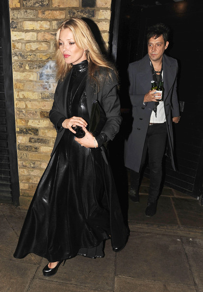 Kate Moss A leather-clad Kate Moss and her fiance Jamie Hince leave their London home to head to the NME Awards.