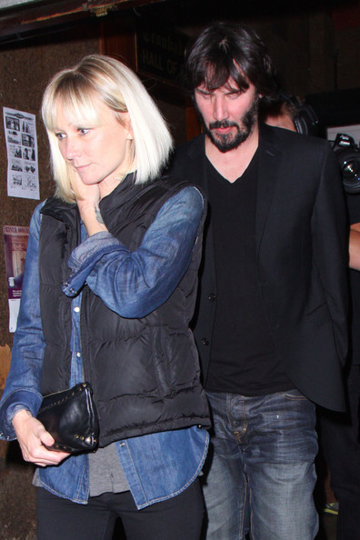 Keanu Reeves Actor Keanu Reeves leaving The Troubadour while holding