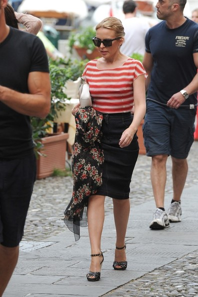 Kylie Minogue seen out and about in Portofino.