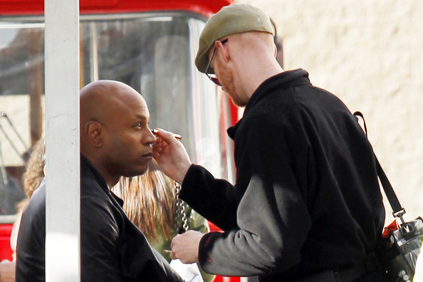 "LL Cool J films a scene with an unidentified co-star in Hollywood for an episode of ""NCIS: Los Angeles."" The actor is seen getting his makeup retouched and using a chapstick to moisturize his lips. The rapper-actor has been booked to hose the upcoming live Grammy nominations concert in Los Angeles. The one-hour special is set to broadcast from Club Nokia on December 1st."