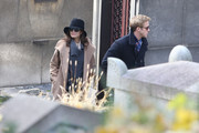 """IN LOVE - Ryan Gosling and Eva Mendes spend quality time together at the Pere Lachaise Cemetery in Paris.  Gosling pays Mendes a visits while filming her new movie """"Holly Motors"""" in paris.  The love birds enjoy their walk and share kisses."""