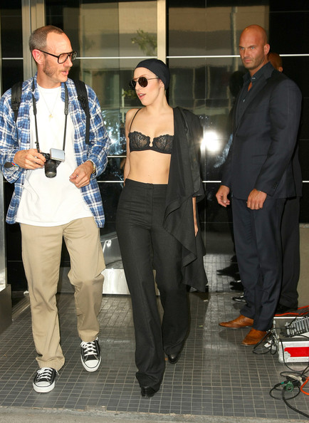 Lady+Gaga+sports+bra+beanie+cap+while+he