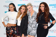 Leigh-Anne Pinnock, Jade Thirlwall, Perrie Edwards and Jesy Nelson band members of Little Mix seen at their new make-up collection launch party held at The May Fair Hotel in London.