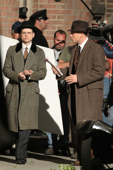 "Leonardo Dicaprio is seen playing J. Edgar Hoover on the set of ""J Edgar"", directed by Clint Eastwood. The filming was taking place in Downtown LA."
