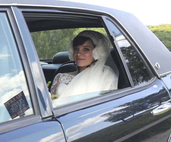 Lily Allen WEDDING BELLE!Lily Allen arriving in a Bentley to her wedding to Sam Cooper in the Gloucester village of Cranham. Lily was wearing a lace Chanel gown designed by KArl Lagerfeld.