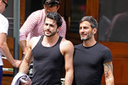 Designer Marc Jacobs and boyfriend Harry Louis catch up with Jacob's ex-partner Lorenzo Martone over lunch in New York City.