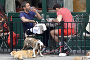 Marc Jacobs grabs a meal at Sant Ambroeus with ex-boyfriend Lorenzo Martone in New York City.