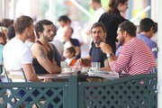 Marc Jacobs and boyfriend Harry Louis have lunch with ex boyfriend Lorenzo Martone at Pastis in NYC's West Village.