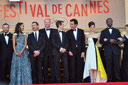 Zoe Saldana, Billy Crudup, director Guillaume Canet, Clive Owen, Marion Cotillard and Jamie Hector attend the 'Blood Ties' Premiere during the 66th Annual Cannes Film Festival at the Palais des Festivals in Cannes.
