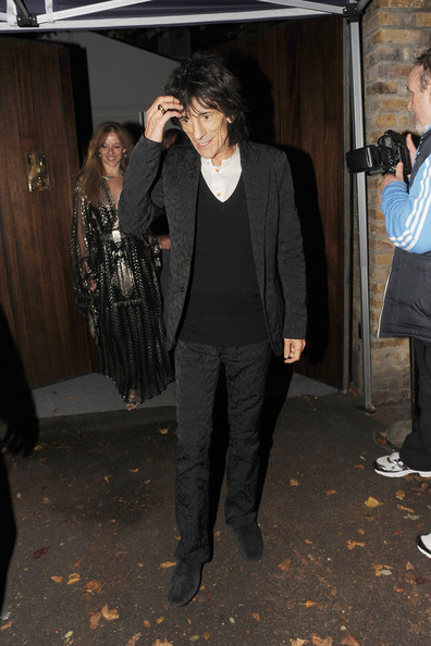 Ronnie Wood leaves the wedding reception of Paul McCartney and Nancy Shevell which was held at their house in St Johns Wood, London, after the wedding at the same venue where he married his first wife Linda 42 years ago.