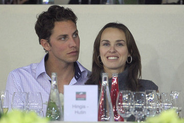 Thibault Hutin Martina Hingis Hutin and her french husband, Thibault Hutin, dine at the Gucci Masters