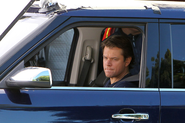 "Matt Damon continues production on the set of his new film with director Cameron Crowe in ""We Bought a Zoo"". The dressed down actor, wearing a navy t-shirt and jeans, is seen standing outside on a street in Los Feliz, waiting for direction from Crowe, and driving an SUV in another scene."