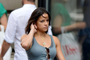 Michelle Rodriguez Appears To Be Picking Her Ear While Out And About In New